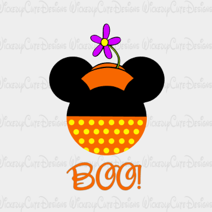 Halloween Retro Minnie Mouse Head SVG, DXF, EPS, PNG Digital File