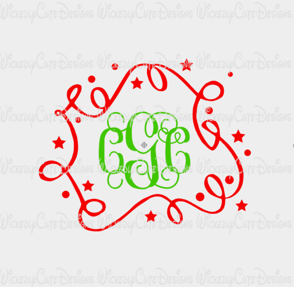 Holiday Ribbon Monogram Frame SVG, DXF, EPS, PNG Digital File
