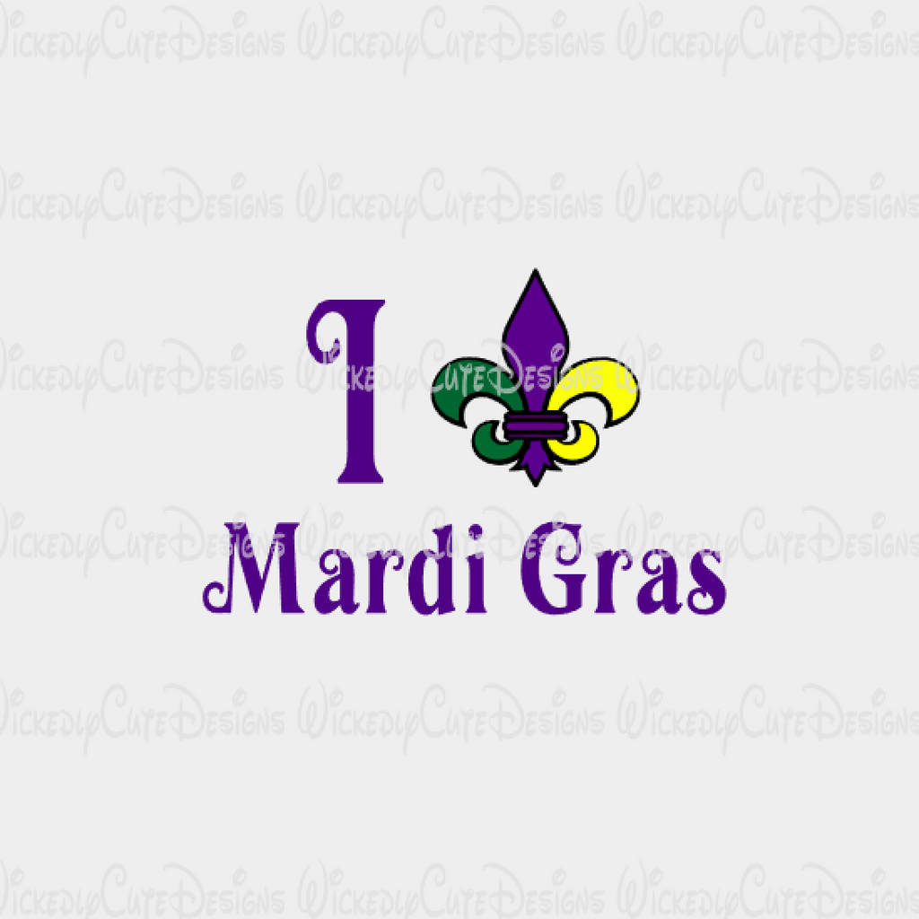 I Love Mardi Gras SVG, DXF, EPS, PNG Digital File