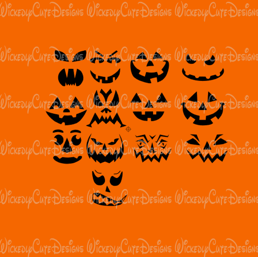 Jack O Lantern Faces SVG, DXF, EPS, PNG Digital File