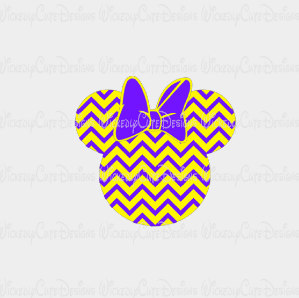 LSU Chevron Minnie Mouse Head SVG, DXF, EPS, PNG Digital File