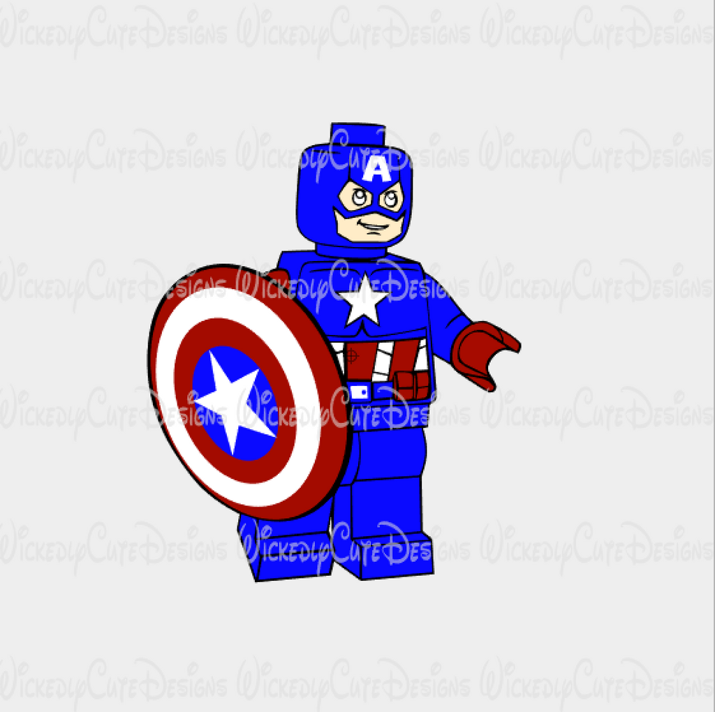 Lego Captain America SVG, DXF, EPS, PNG Digital File