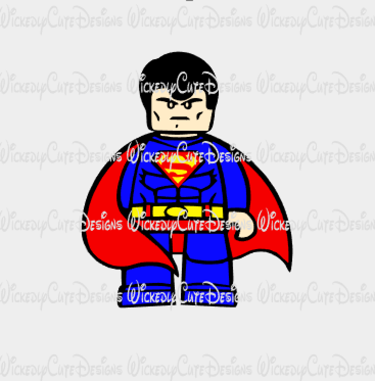 Lego Superman SVG, DXF, EPS, PNG Digital File