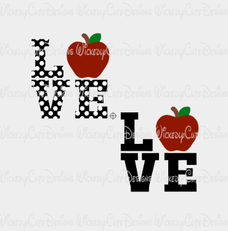 Love Apple SVG, DXF, EPS, PNG Digital File