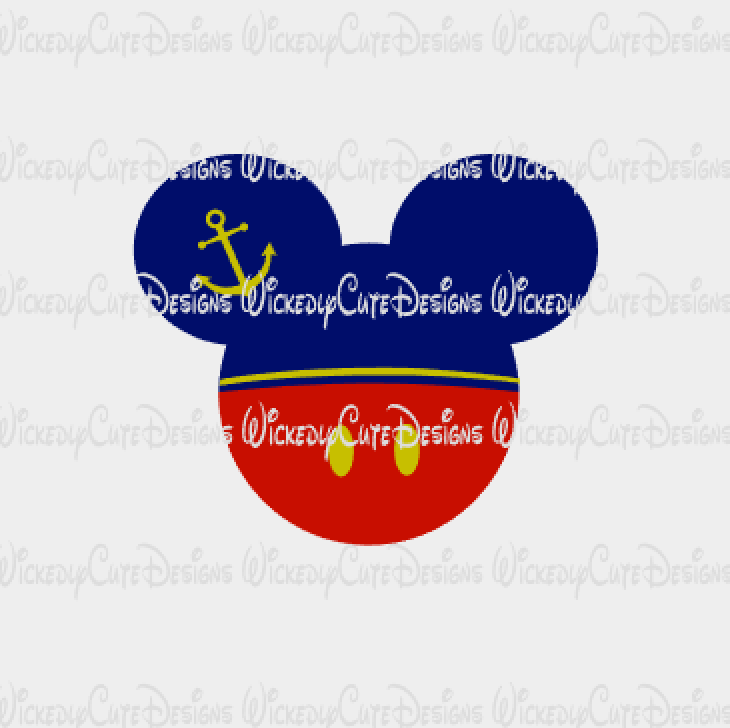 Mickey Sailor Mouse Head SVG, DXF, EPS, PNG Digital File