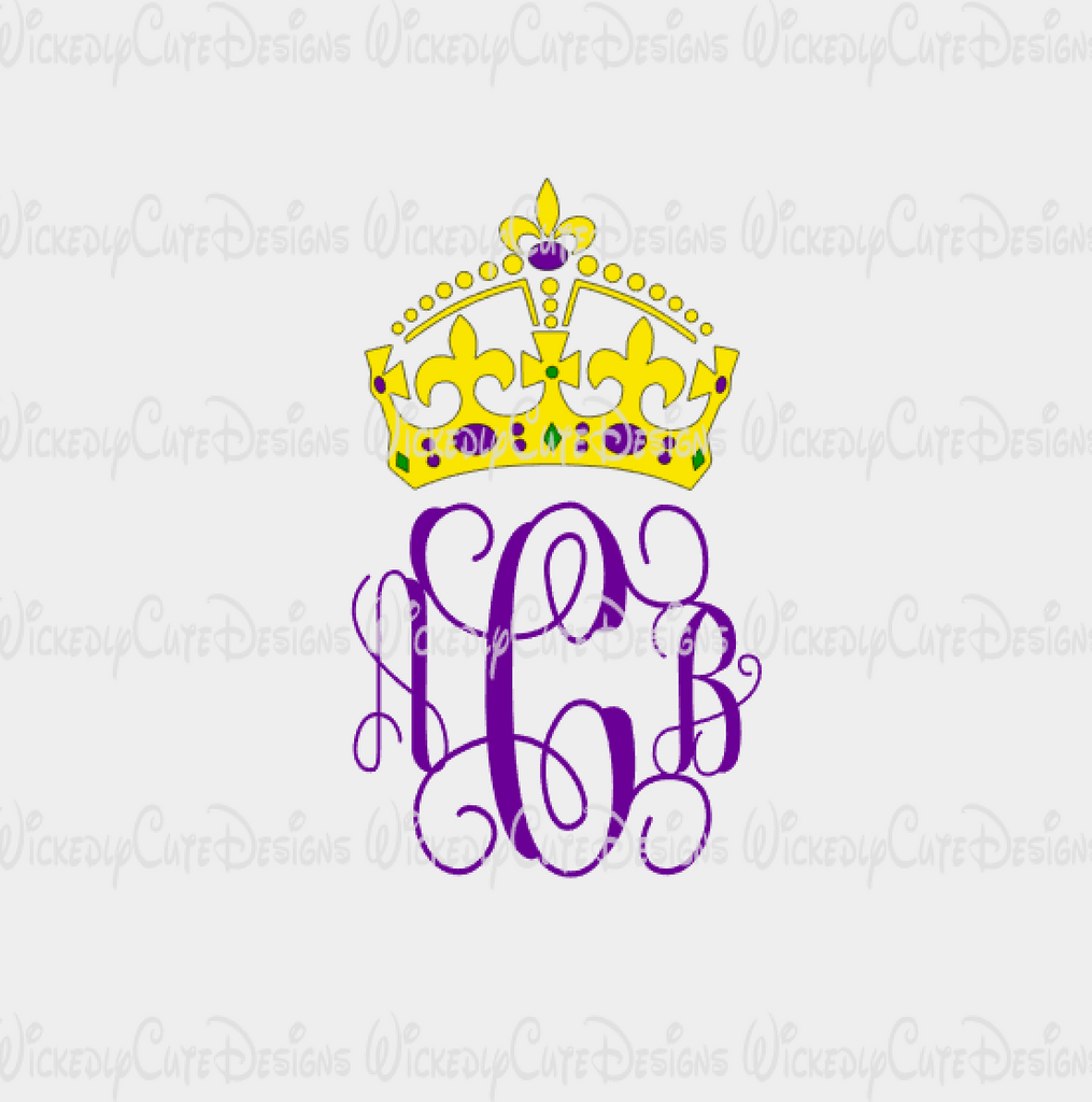 Mardi Gras Crown Monogram Frame SVG, DXF, EPS, PNG Digital File