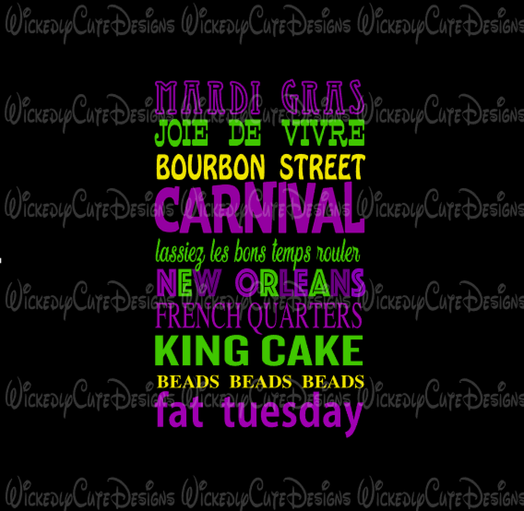 Mardi Gras Quotes SVG, DXF, EPS, PNG Digital File