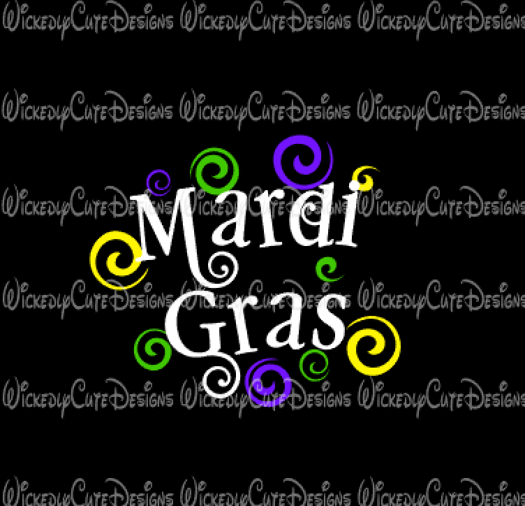 Mardi Gras with Swirls SVG, DXF, EPS, PNG Digital File