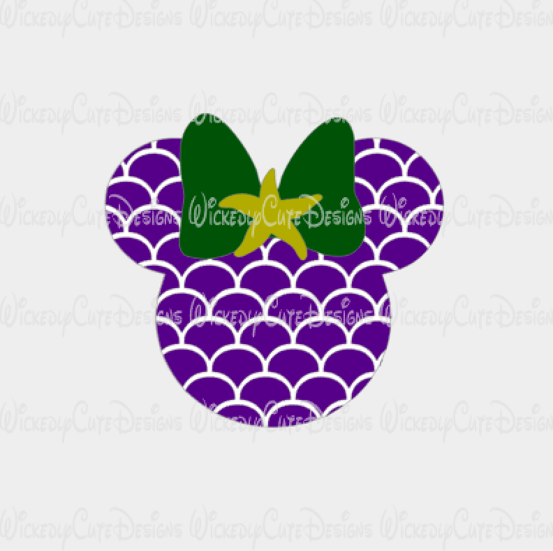 Mermaid Mouse Head SVG, DXF, EPS, PNG Digital File