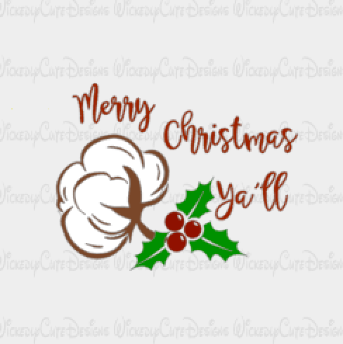 Merry Christmas Ya'll SVG, DXF, EPS, PNG Digital File