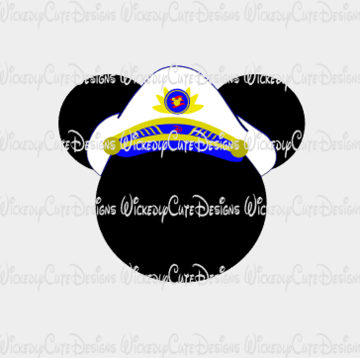 Mickey Captain Mouse Head SVG, DXF, EPS, PNG Digital File