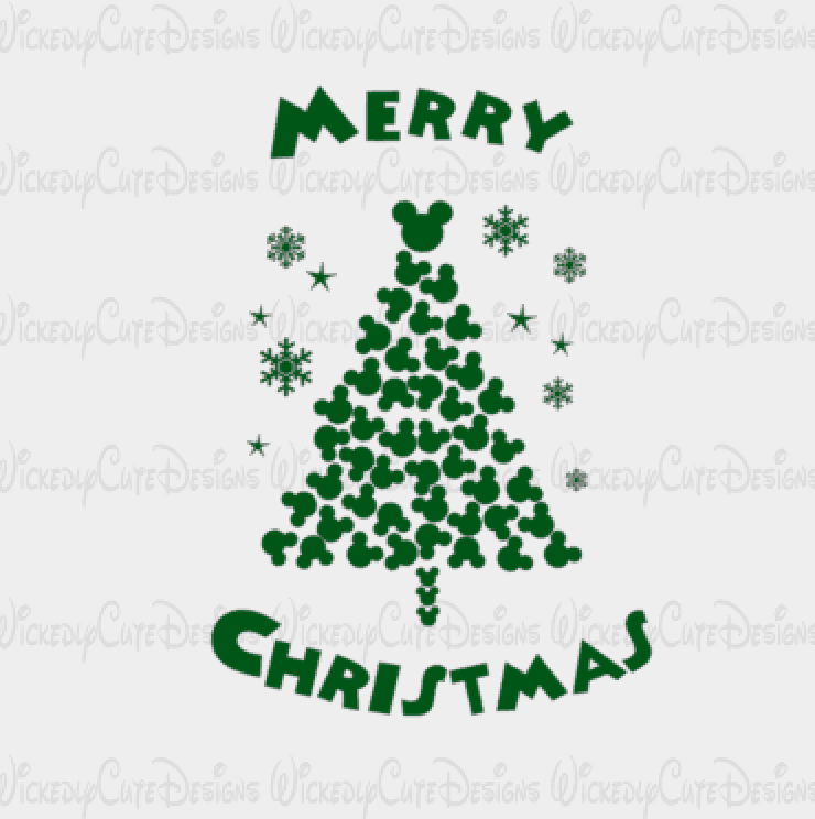 Mickey Mouse Christmas Tree SVG, DXF, EPS, PNG Digital File