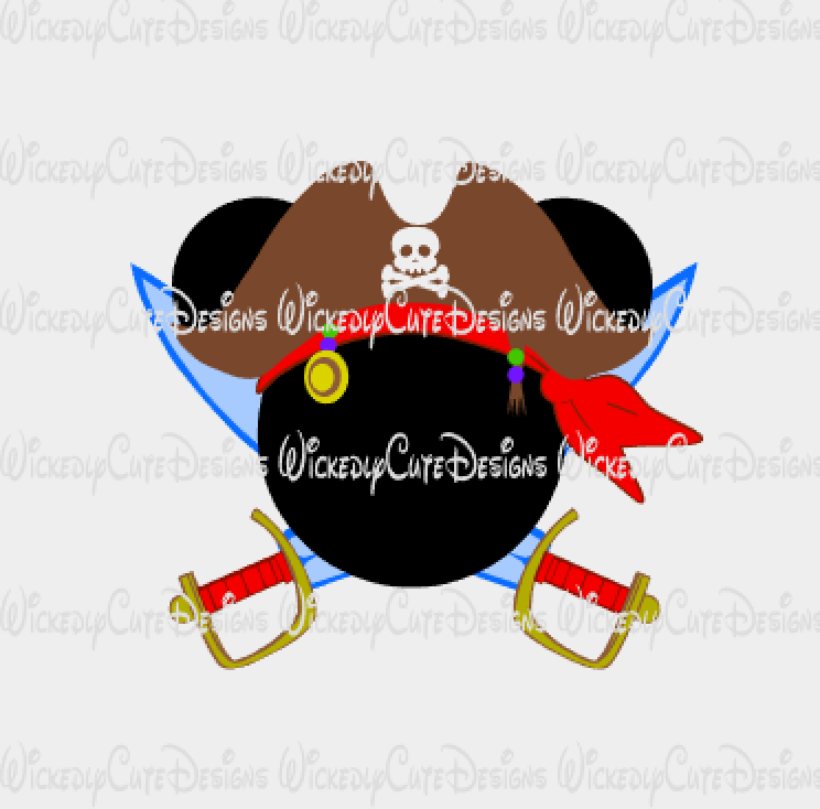 Mickey Pirate Mouse Head SVG, DXF, EPS, PNG Digital File