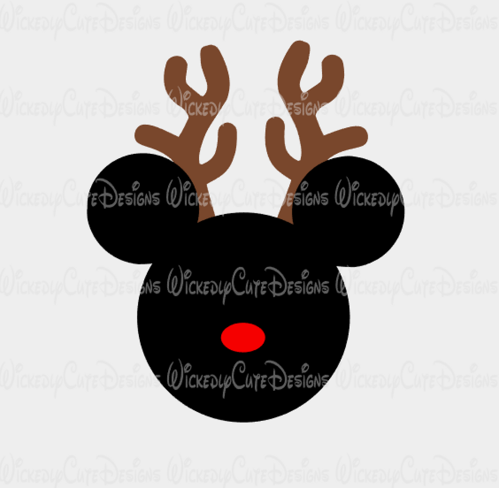 Mickey Reindeer Mouse Head SVG, DXF, EPS, PNG Digital File