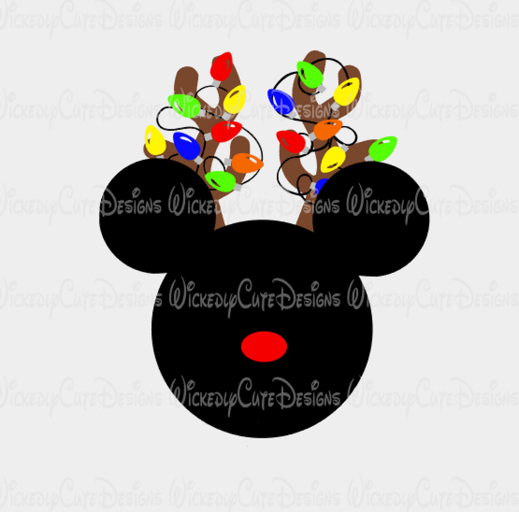 Mickey Reindeer Mouse Head with Lights SVG, DXF, EPS, PNG Digital File
