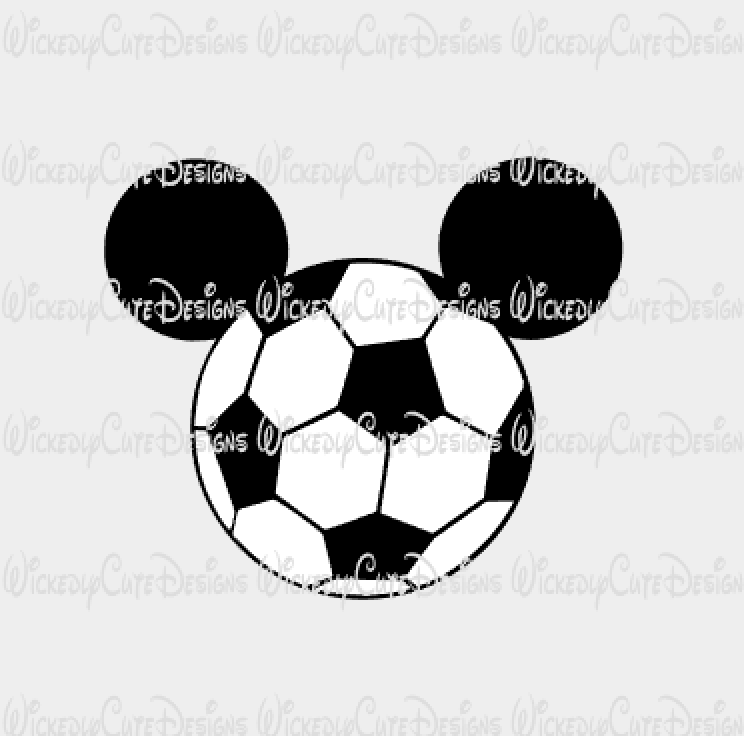 Mickey Soccer Mouse Head SVG, DXF, EPS, PNG Digital File