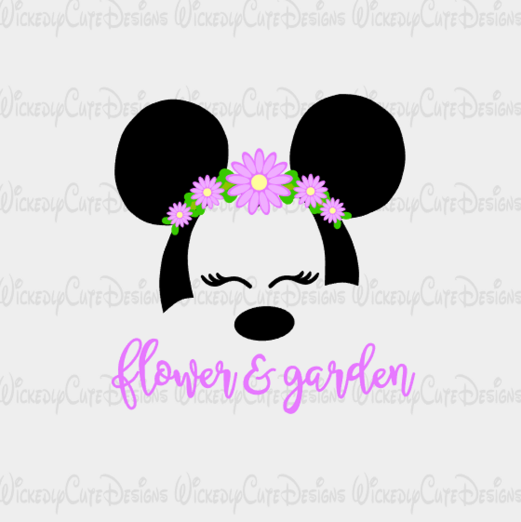 Minnie Flower and Garden Mouse Head SVG, DXF, EPS, PNG Digital File