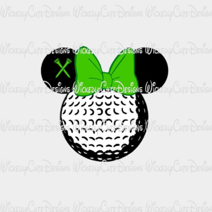 Minnie Golf Mouse Head SVG, DXF, EPS, PNG Digital File