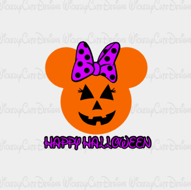 Minnie Jack O Lantern Mouse Head SVG, DXF, EPS, PNG Digital File