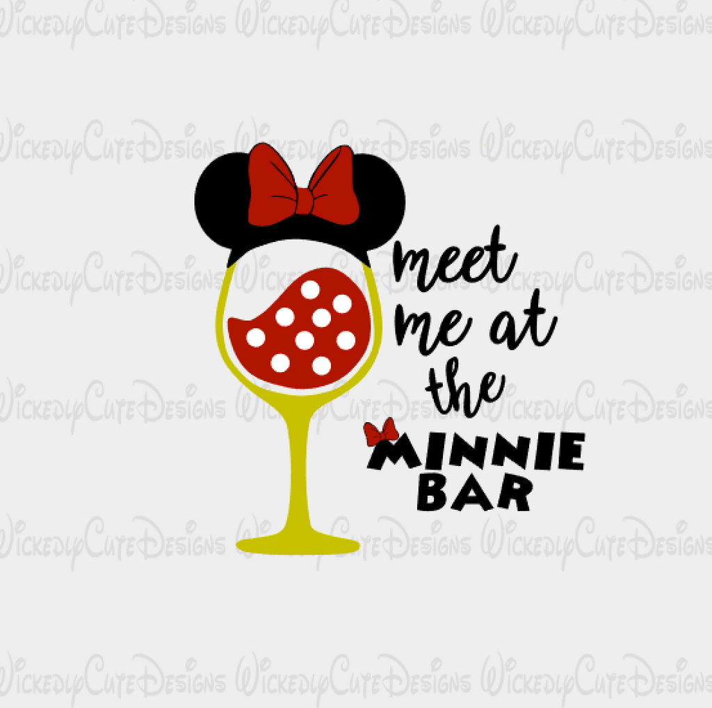 Minnie Mouse Wine Glass SVG, DXF, EPS, PNG Digital File