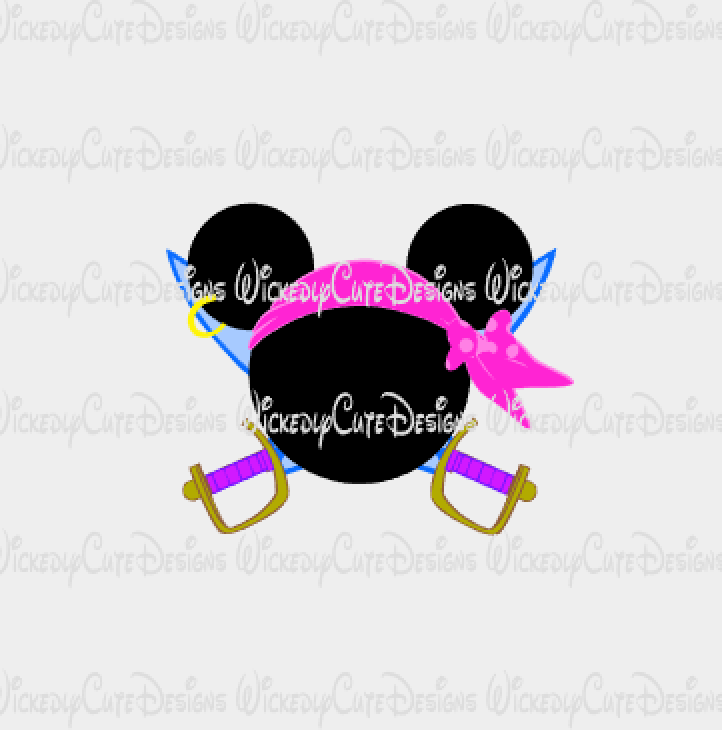 Minnie Pirate Mouse Head SVG, DXF, EPS, PNG Digital File