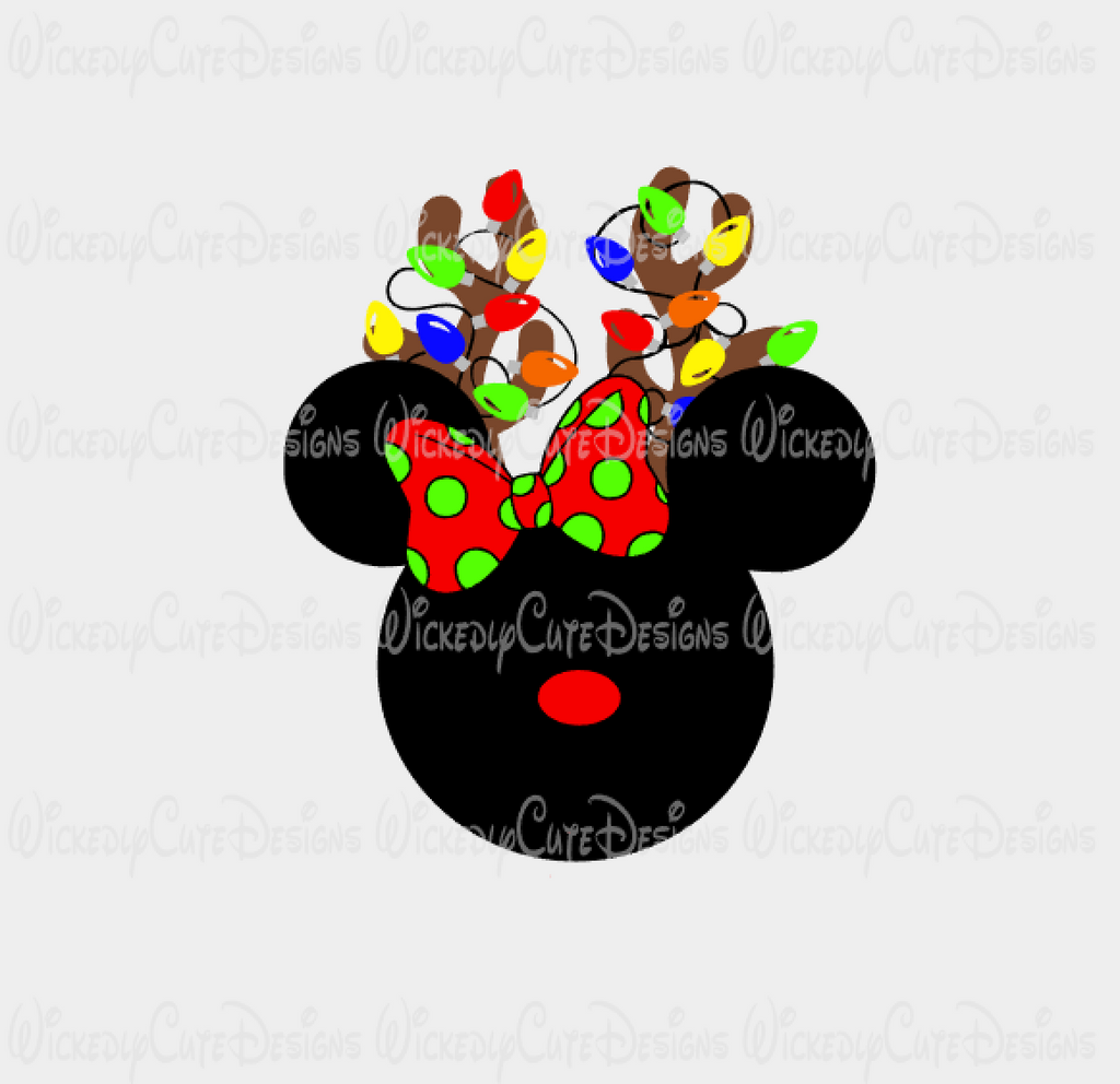 Minnie Reindeer Mouse Head with Lights SVG, DXF, EPS, PNG Digital File