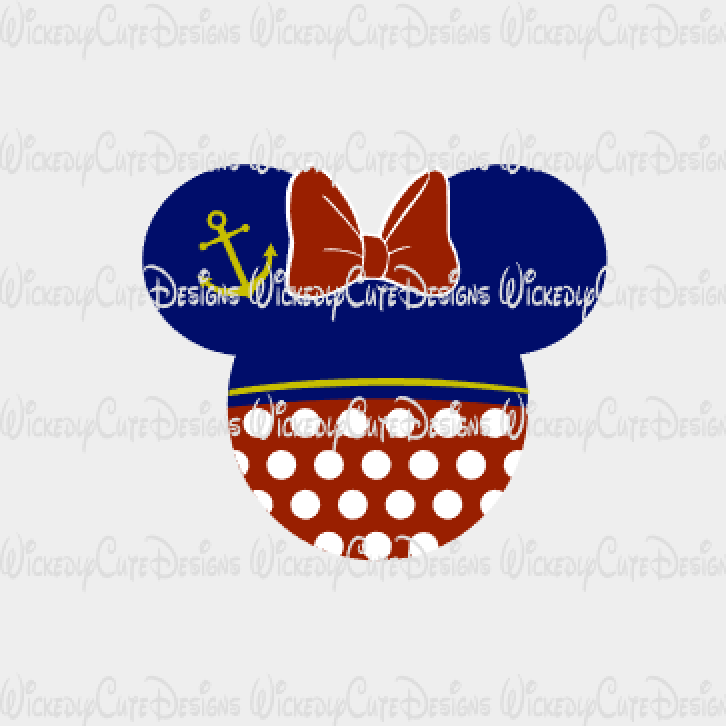 Minnie Sailor Mouse Head SVG, DXF, EPS, PNG Digital File