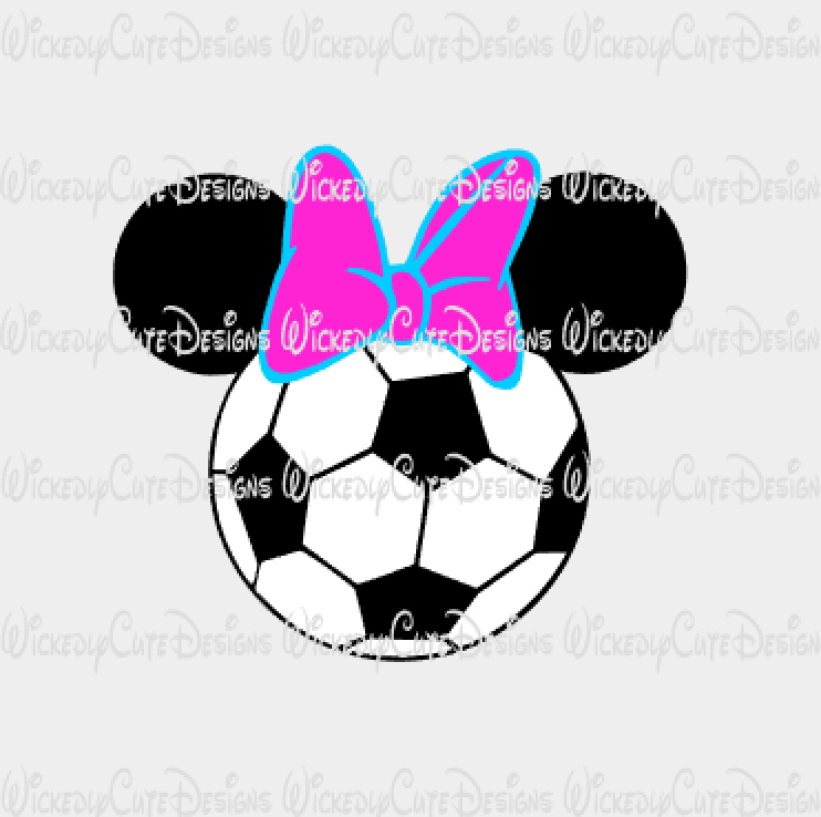 Minnie Soccer Mouse Head SVG, DXF, EPS, PNG Digital File
