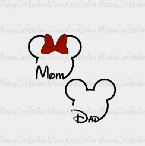 Mom and Dad Mouse Heads SVG, DXF, EPS, PNG Digital File
