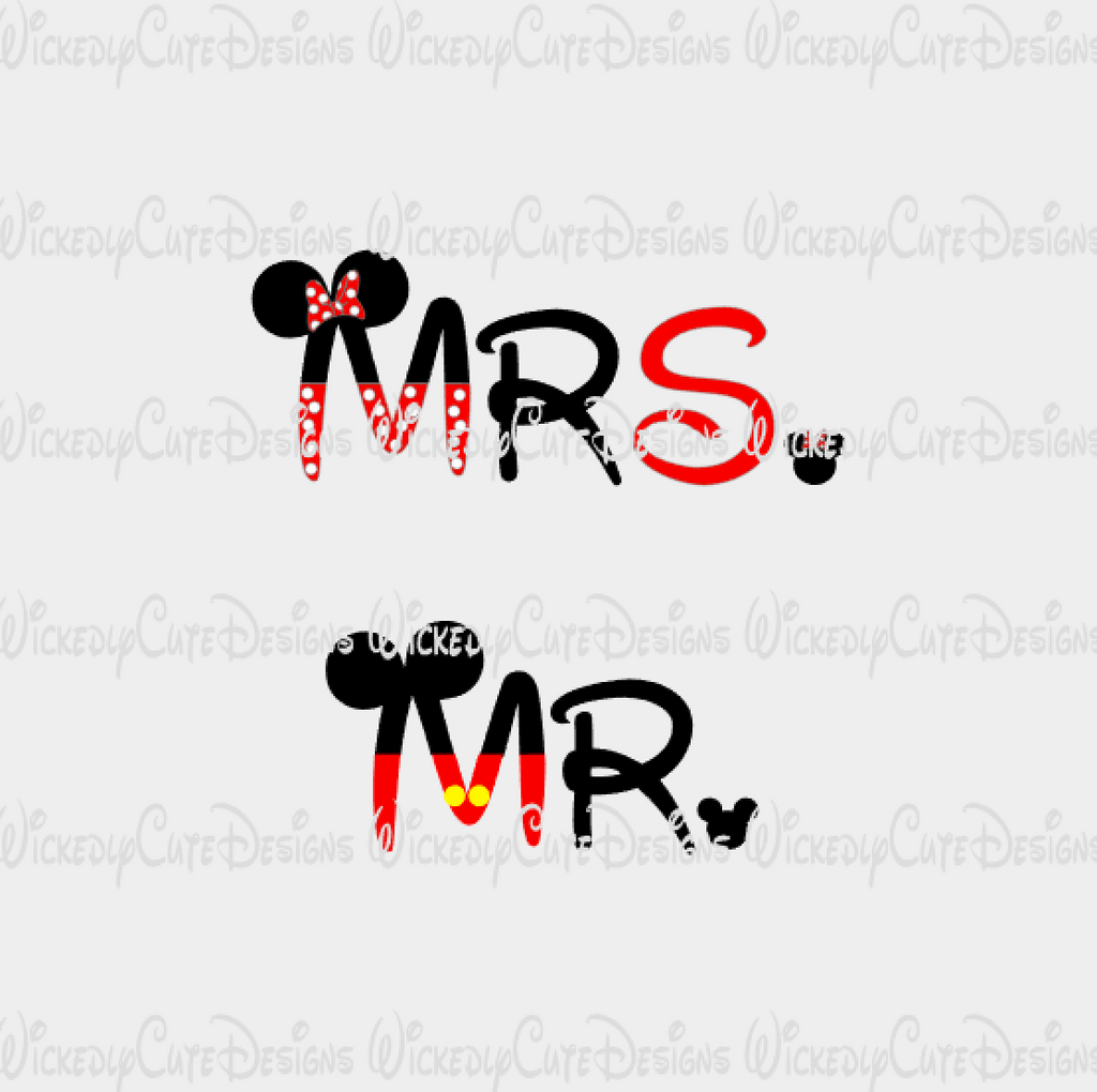 Mr Mrs Disney SVG, DXF, EPS, PNG Digital File