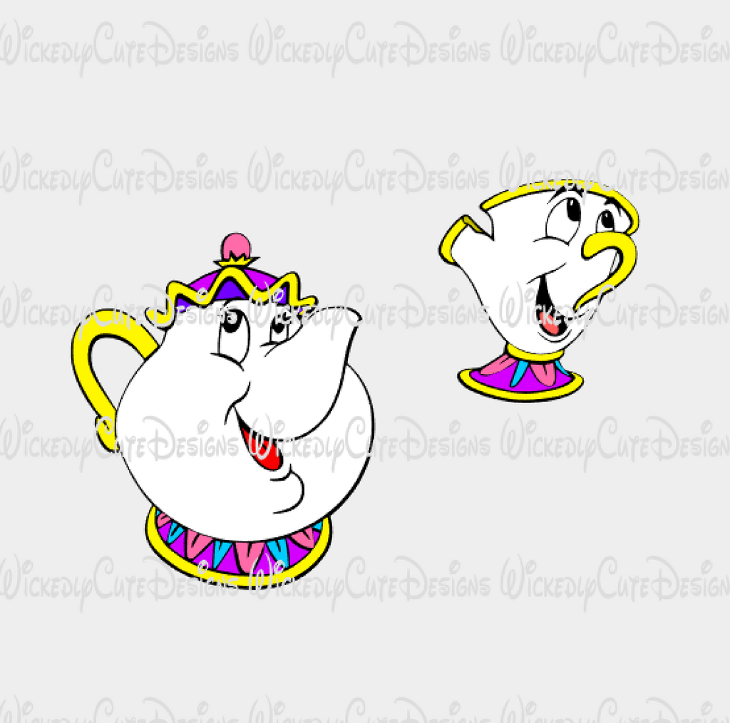 Mrs Potts and Chip SVG, DXF, EPS, PNG Digital File