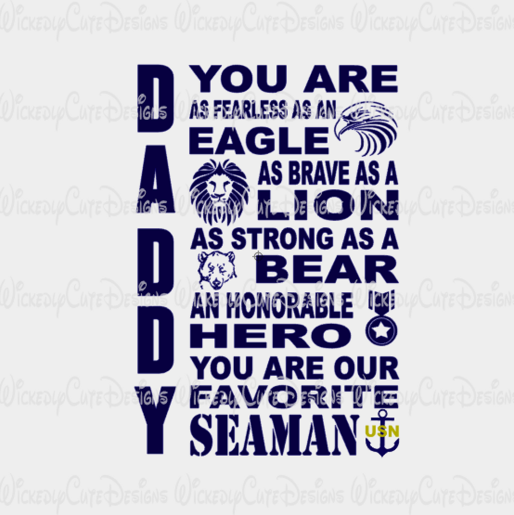 NAVY DADDY SVG, DXF, EPS, PNG Digital File