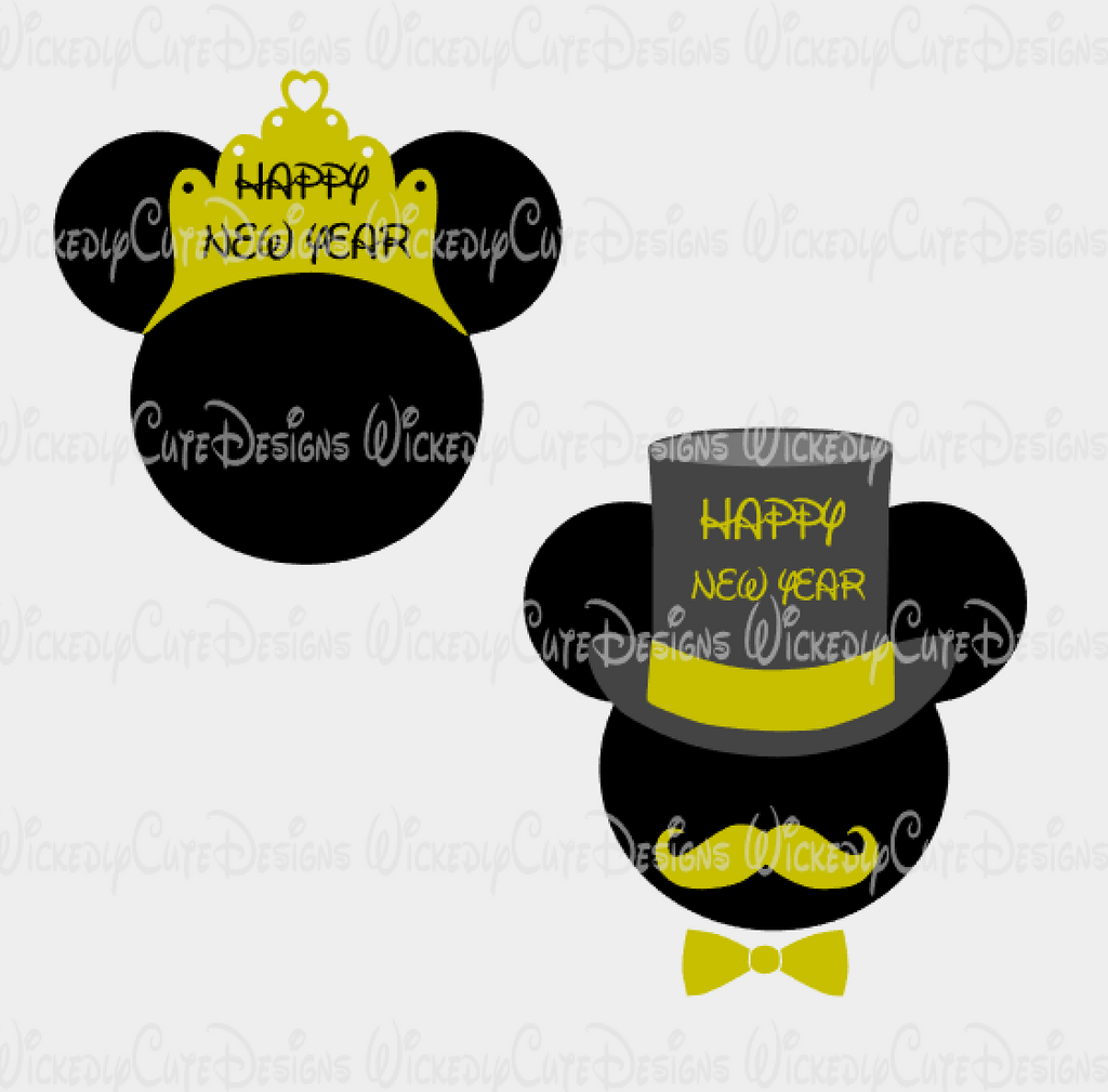 New Years Mickey and Minnie SVG, DXF, EPS, PNG Digital File