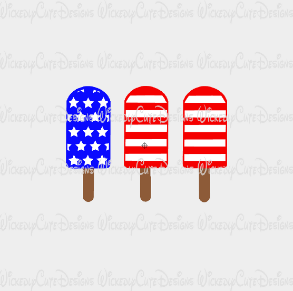 Patriotic Popsicles SVG, DXF, EPS, PNG Digital File