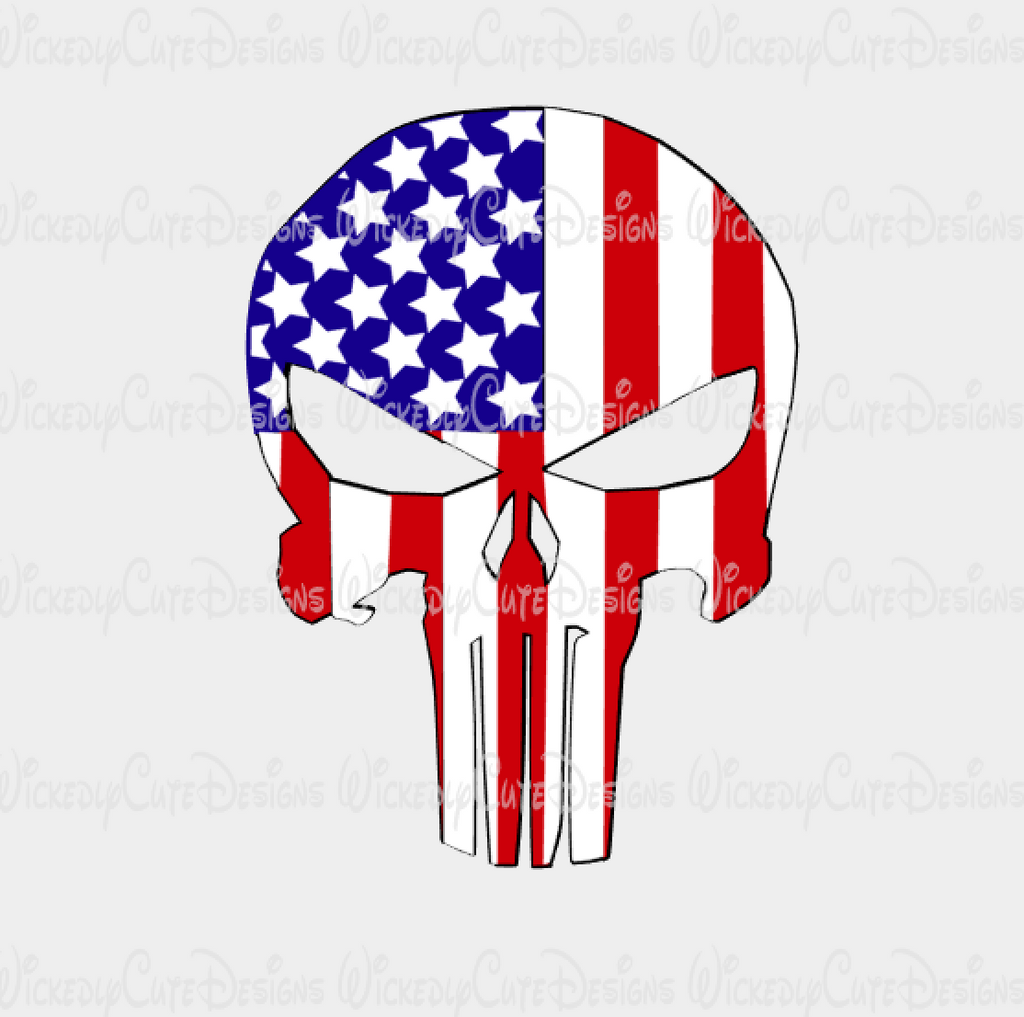 Patriotic Punisher SVG, DXF, EPS, PNG Digital File