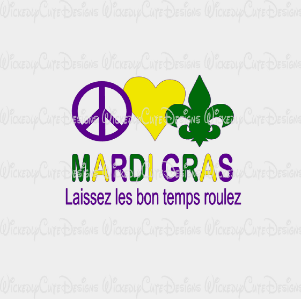 Peace Love Mardi Gras SVG, DXF, EPS, PNG Digital File