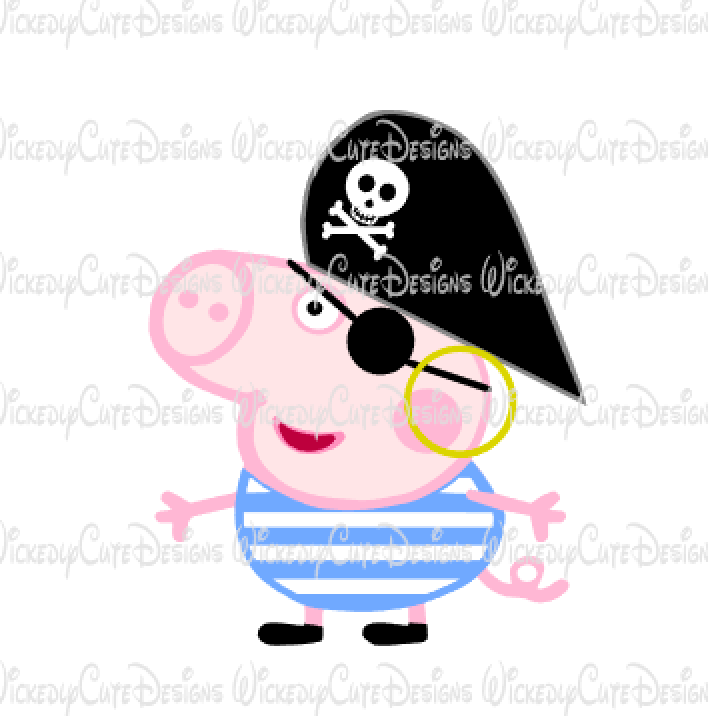 Pirate George Pig SVG, DXF, EPS, PNG Digital File