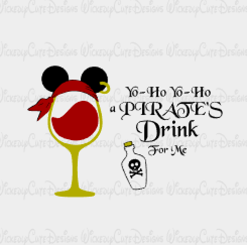 Pirate Wine Glass SVG, DXF, EPS, PNG Digital File