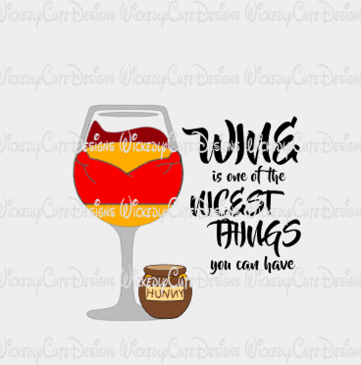 Pooh Wine Glass SVG, DXF, EPS, PNG Digital File