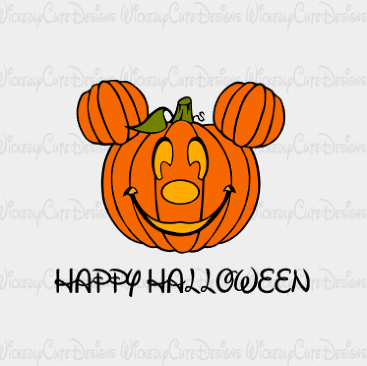 Pumpkin Mickey Mouse Head SVG, DXF, EPS, PNG Digital File