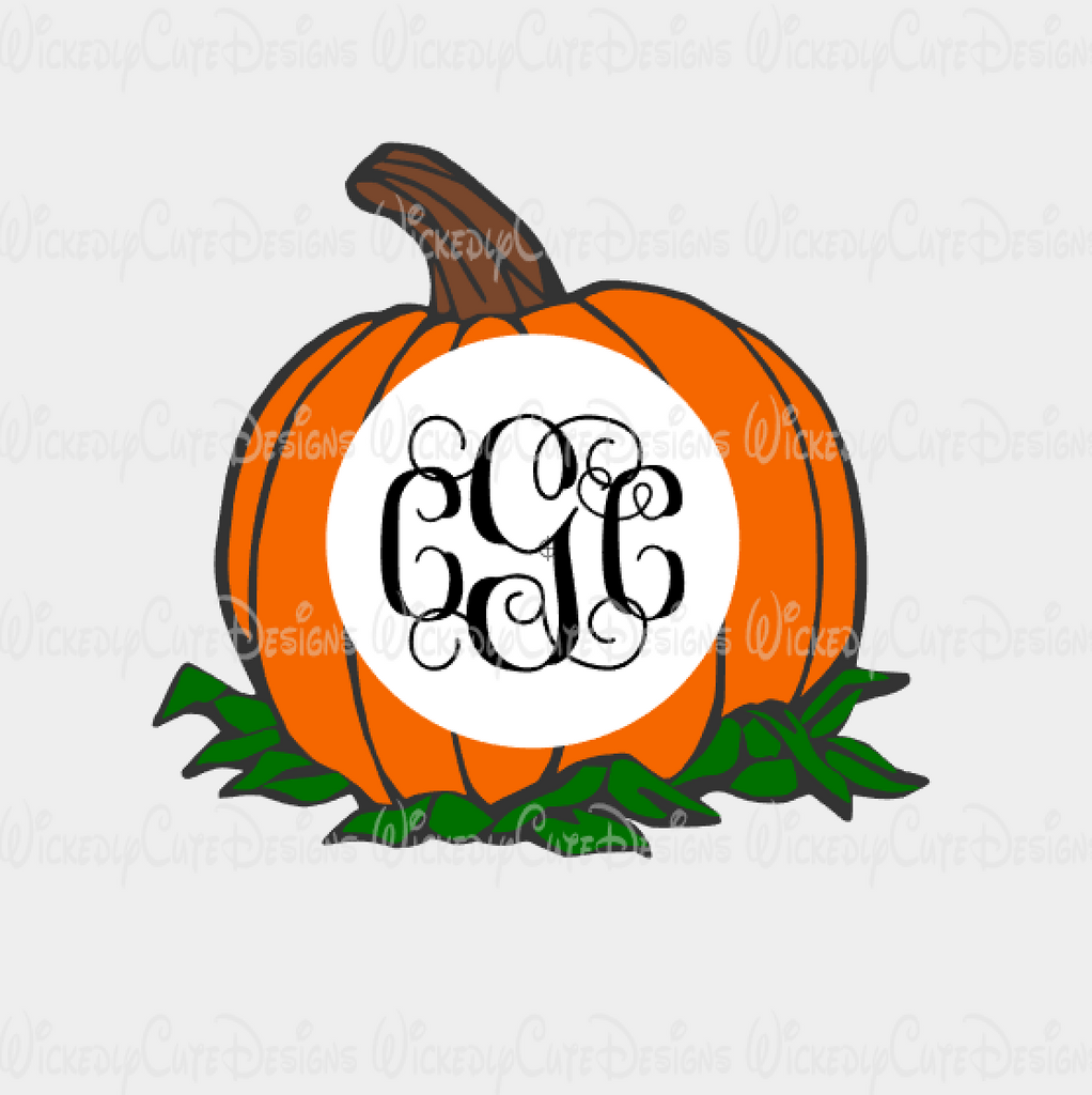 Pumpkin Monogram Frame SVG, DXF, EPS, PNG Digital File
