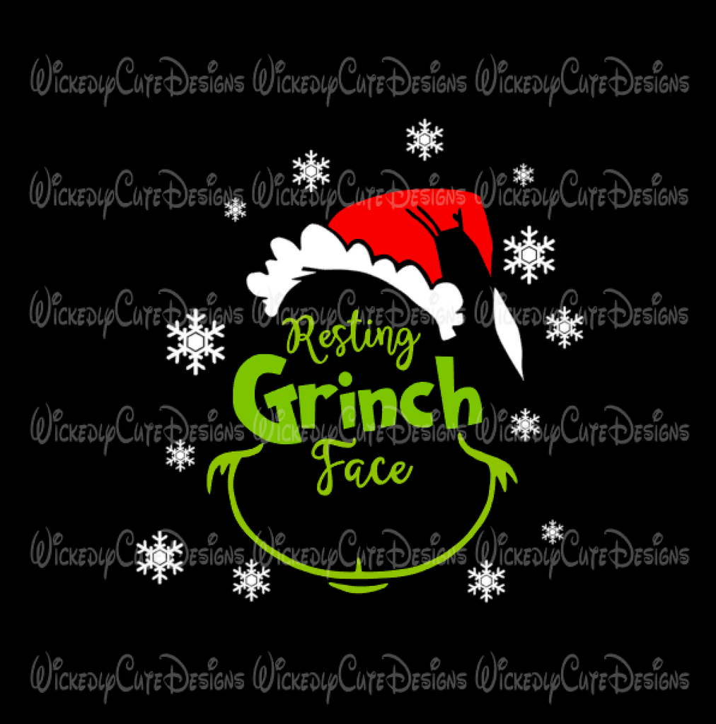 Resting Grinch Face SVG, DXF, EPS, PNG Digital File