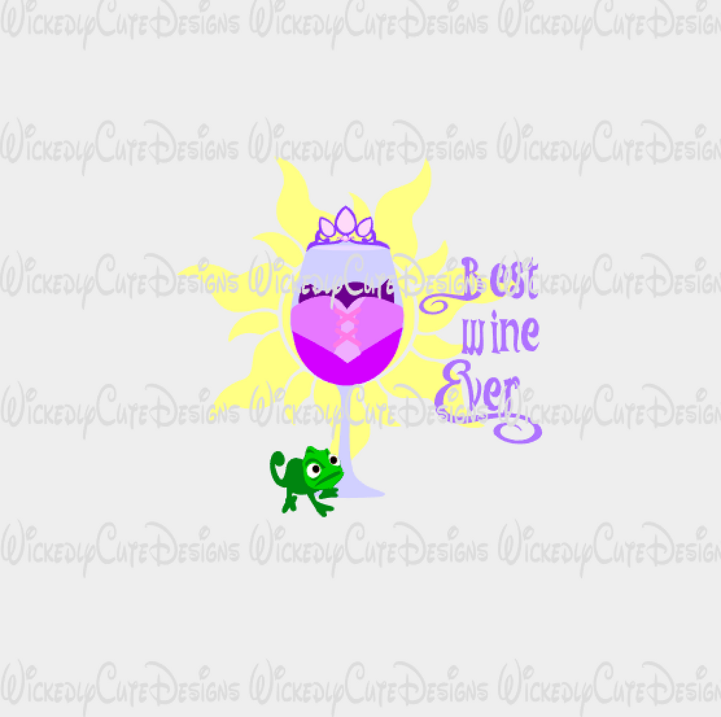 Rapunzel Wine Glass SVG, DXF, EPS, PNG Digital File