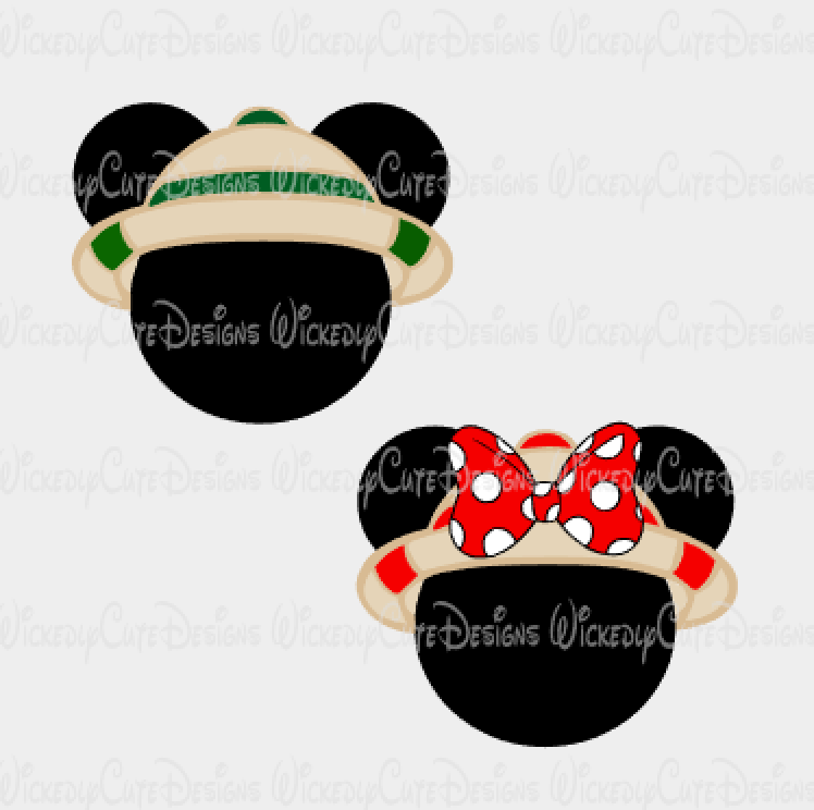 Safari Mickey and Minnie Mouse Heads Set SVG, DXF, EPS, PNG Digital File