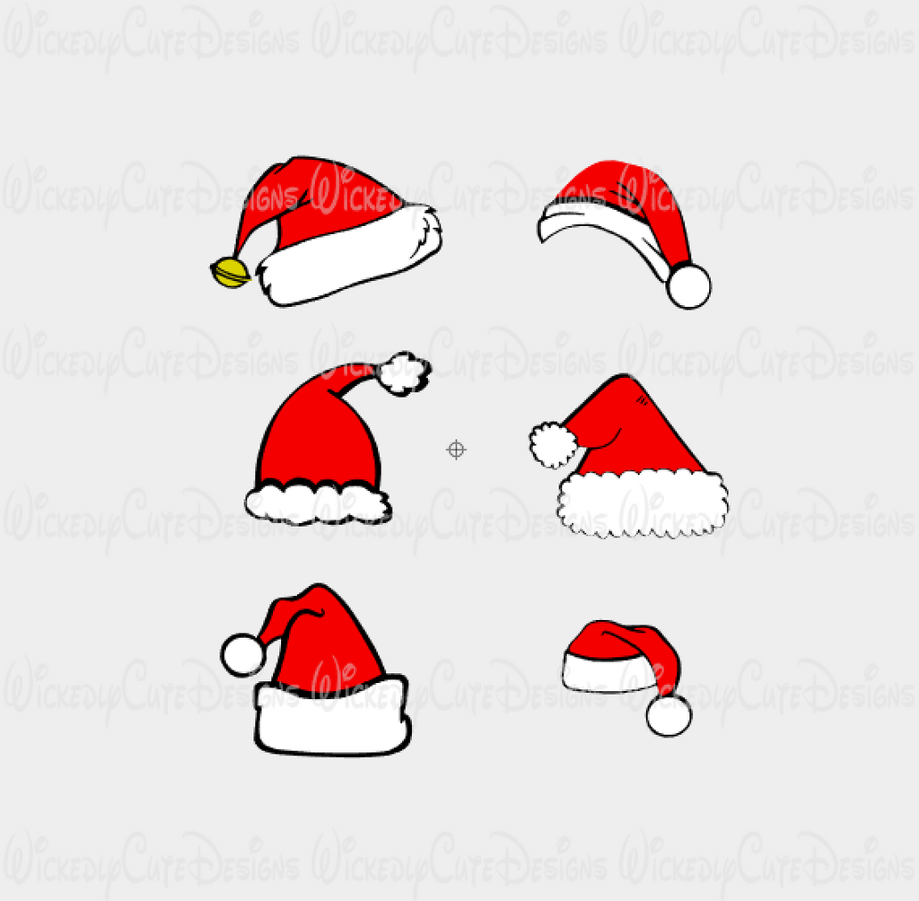 Santa Hat Collection SVG, DXF, EPS, PNG Digital File