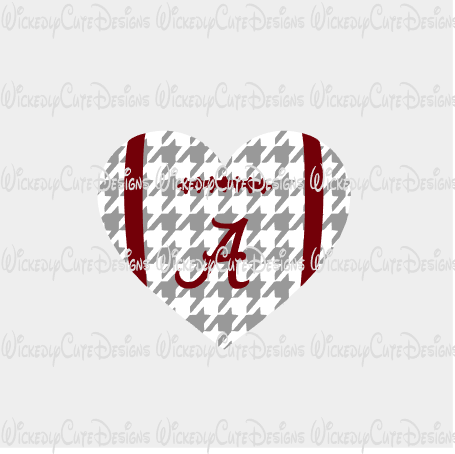 Alabama Football Heart SVG, DXF, EPS, PNG Digital File