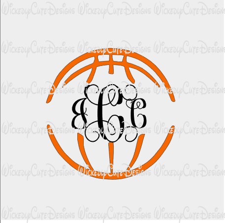 Basketball Monogram Frame SVG, DXF, EPS, PNG Digital File