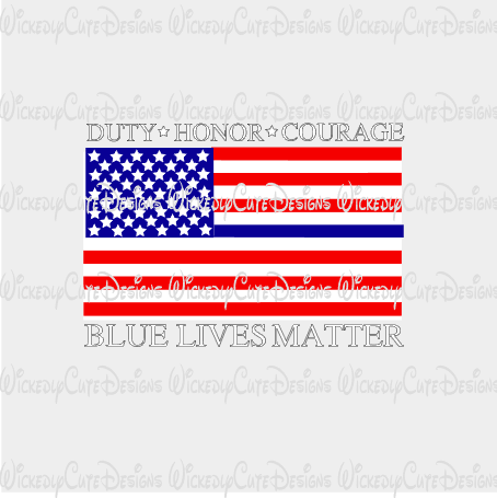 Blue Lives Matter American Flag SVG, DXF, EPS, PNG Digital File