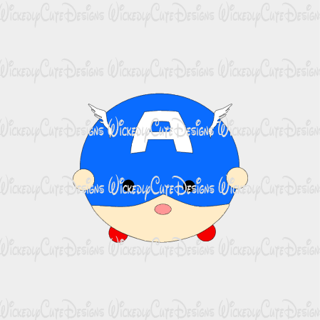 Captain America Tsum Tsum SVG, DXF, EPS, PNG Digital File