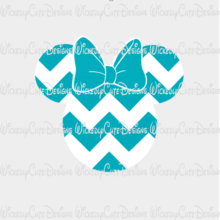 Chevron Girl Mouse Head SVG, DXF, EPS, PNG Digital File